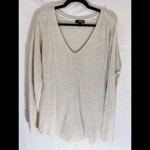 ❤️ 3/20 A.N.A Cream Gold Knit V Neck Sweater 2X